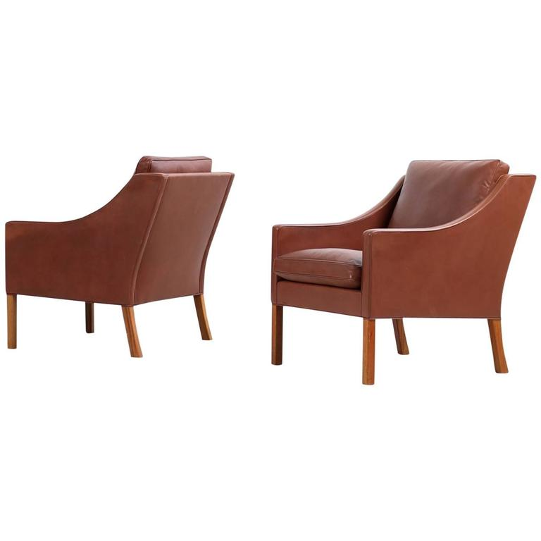 Pair of 1960s Borge Mogensen Mod. 2207 Leather Lounge Chairs Fredericia, Denmark