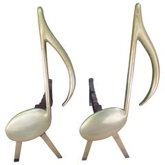 Pair of Brass and Cast-Iron Musical Note Andirons