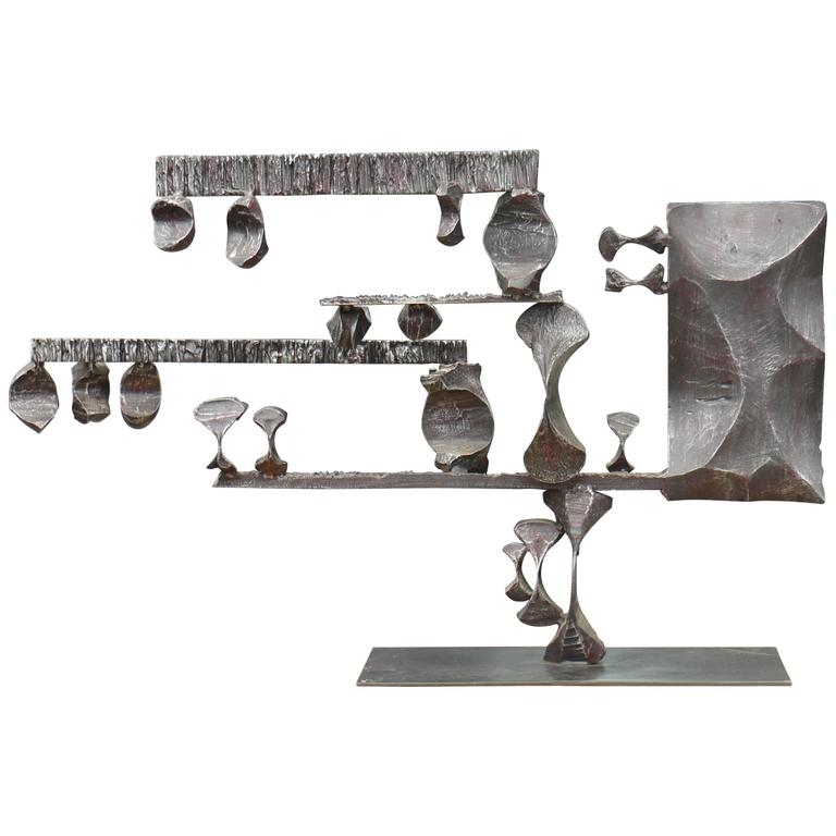 Large Brutalist Forged Iron Sculpture by Gianfranco Romagna, 1970 1
