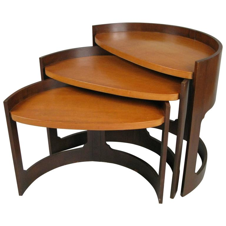 Set of 1960s Curved Stacking Nesting Tables