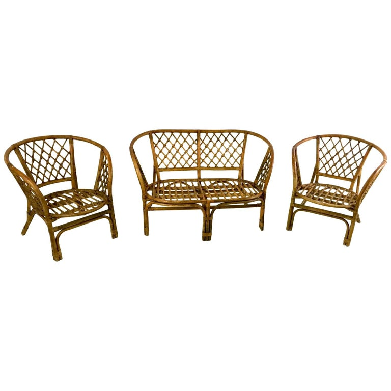 Vintage Wicker Set, Italy, 1950s For Sale