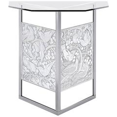 Lalique Side or Accent Crystal Table with the Merles and Raisins Panels