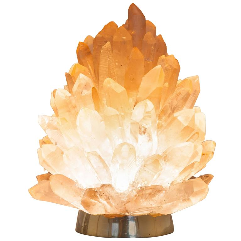 "Unique Natural Raw Rose Crystal Lighting ""Small Liberty"", Demian Quincke"
