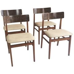 Set of Four 1970s Mid-Century Dining Chairs Wood Grain Effect Back Rests