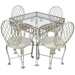 Charming 1940s Gilded Lattice Dining Set