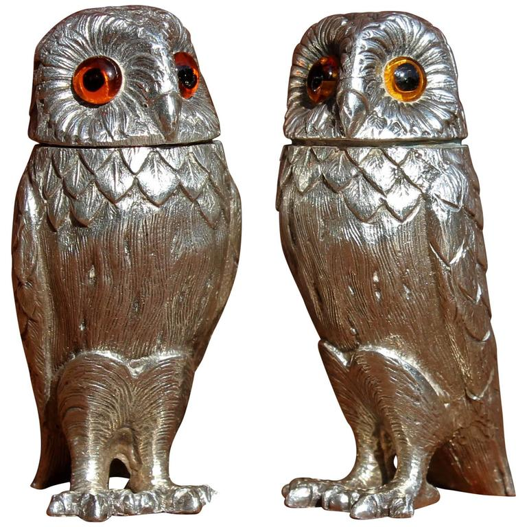 English Sterling Silver Owl Figures