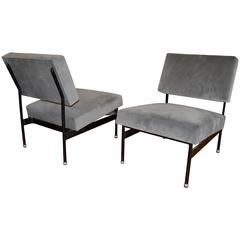 Pair of 1950s Iron and Velvet Chairs