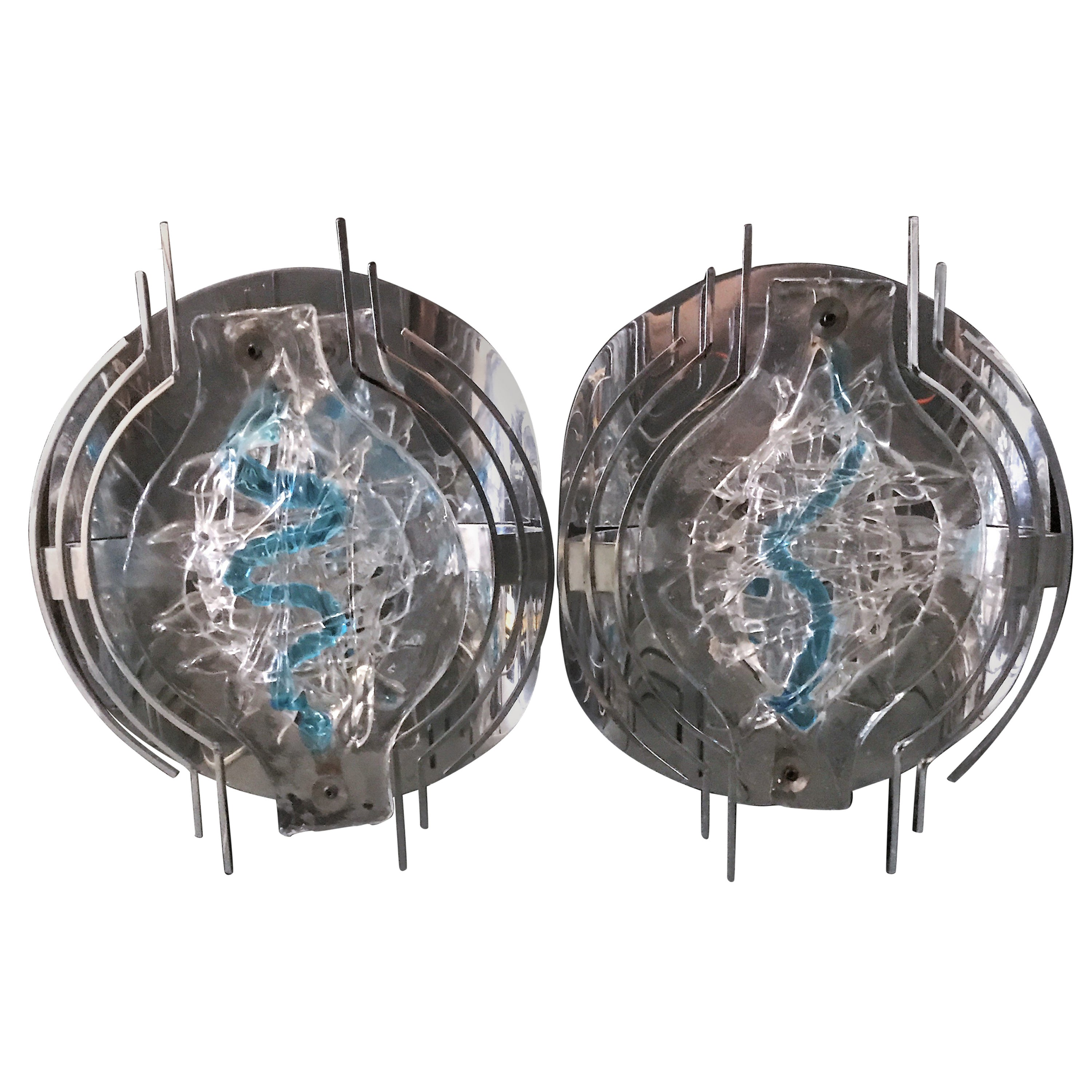 Pair of Angelo Brotto Sconces for Esperia in Stainless Steel and Murano Glass