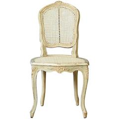 19th Century French Paint Decorated Caned Vanity Chair in the Style of Louis XV