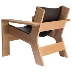 Wide Lounge Chair in White Oak with Slung Vegetable Tanned Leather Seat