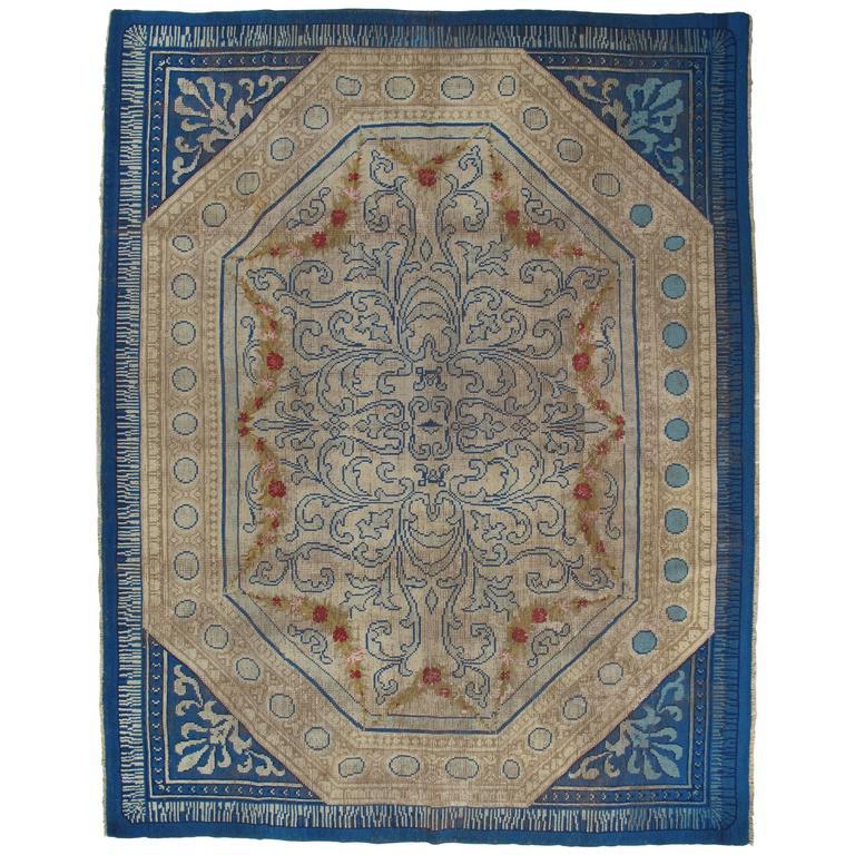Antique English Carpet, Finely Woven Blue Cream Carpet