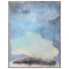 Very Large Abstract Painting in Soft Blues and Greens
