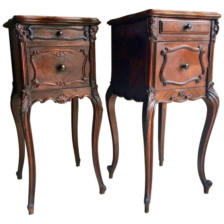 Antique french bedside tables cabinets pair walnut marble topped at antique french bedside tables cabinets pair walnut marble topped for sale watchthetrailerfo