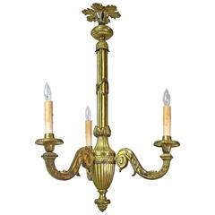 Early 20th Century French Belle Époque Three-Light Chandelier in Bronze Doré