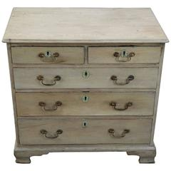 Small 18th Century Georgian Bleached Oak English Graduated Chest of Drawers