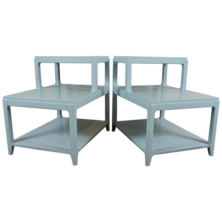 Pair of Stepped Side Tables in Light Blue