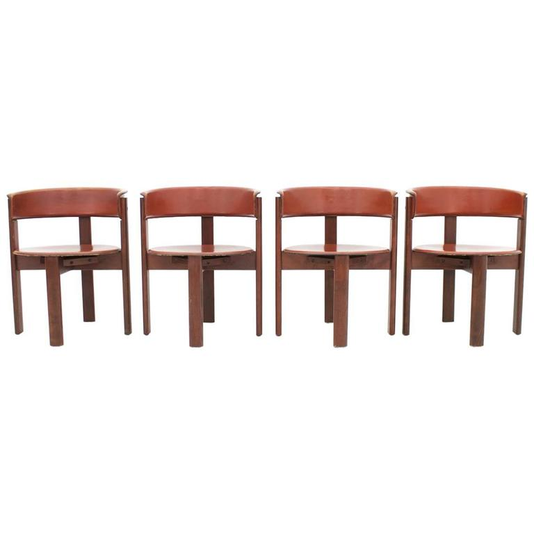 Set of Four Leather and Walnut Dining Room Chairs by Cassina, Italy, 1970s