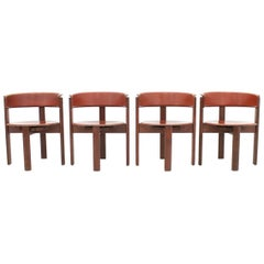 Set of Four Cassina Dining Room Chairs in Red Leather Italy, 1970s