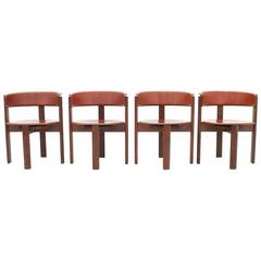 Cassina Dining Room Chairs in Red Leather Italy, 1970s