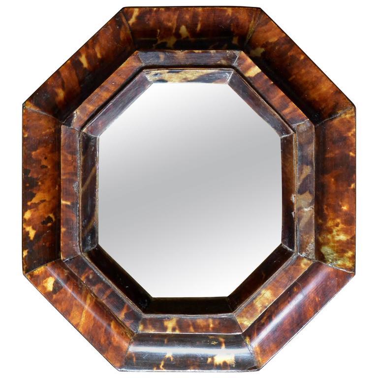 Small Antique Sicilian Tortoiseshell Framed Mirror For Sale