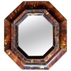 Small Antique Sicilian Tortoiseshell Framed Mirror