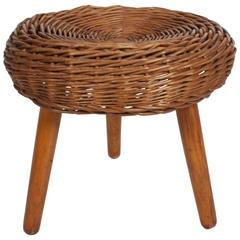 Tony Paul Wicker Rattan Stool, circa 1950s