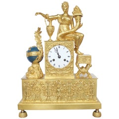 French Empire Period Ormolu Bronze Clock