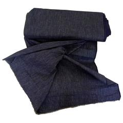 Antique French Roll of Unused Woven Dark Indigo Striped Cotton Cloth