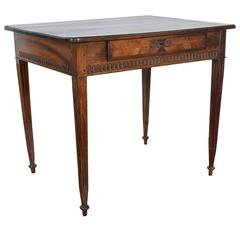 French Neoclassic Carved Walnut and Veneer One-Drawer Table, Early 19th Century