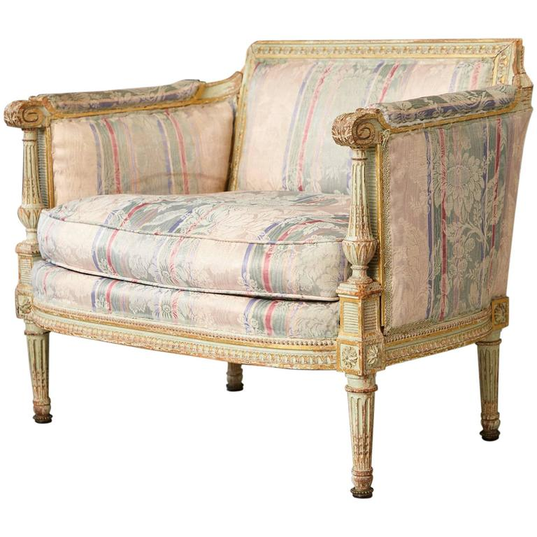 19th Century French Paint and Gild Decorated Bèrgere in the Style of Louis XVI