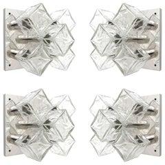 Four Modulare Kalmar Flush Mount Lights or Sconces, Chrome Cast Glass, 1970
