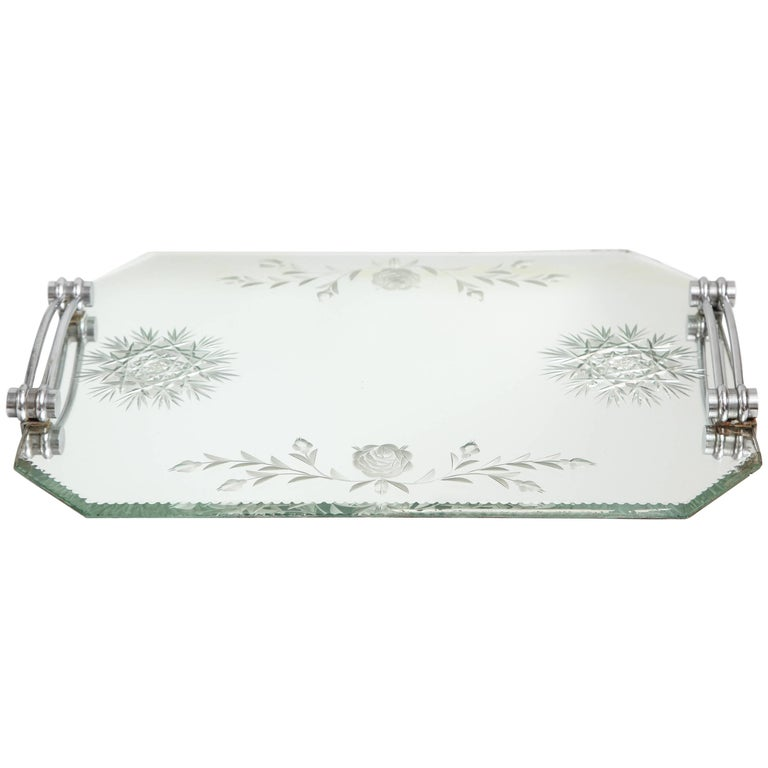 French Deco Mirrored Tray With Chrome Handles For Sale At