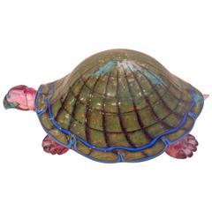 Vibrant and Rare Murano Sculpture of a Turtle by Pino Signoretto