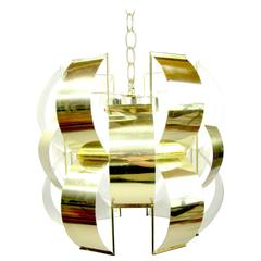 Iconic Lightolier Polished Brass Pendant Light