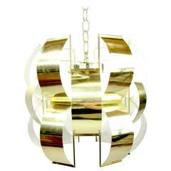 Iconic Lightolier Polished Brass Pendant Light