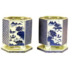 Pair of Japanese Porcelain Hibachi, Early 20th century