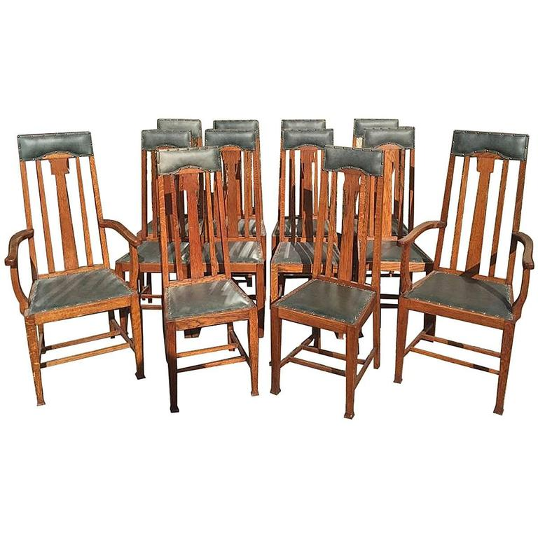 Rare set of arts and crafts glasgow school oak dining