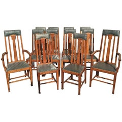Rare Set of 12 Arts & Crafts Glasgow School Oak Dining Chairs with Tulip Details