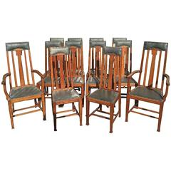 Rare Set Of 12 Arts And Crafts Glasgow School Oak Dining Chairs