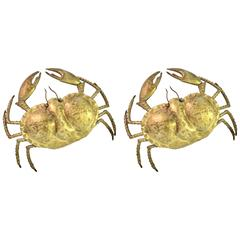 "Pair of Brass ""Crab"" Wall Lamps Signed P. Mas-Rossi"