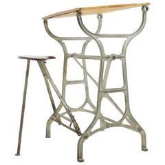 Industrial Metal & Wood Working Desk with Stool, 1930s