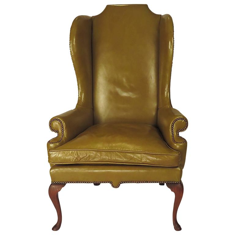 Vintage Leather English Wing Chair