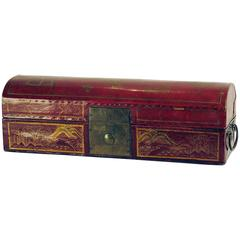 Leather and Red Lacquer Chinese Domed Box, circa 1870