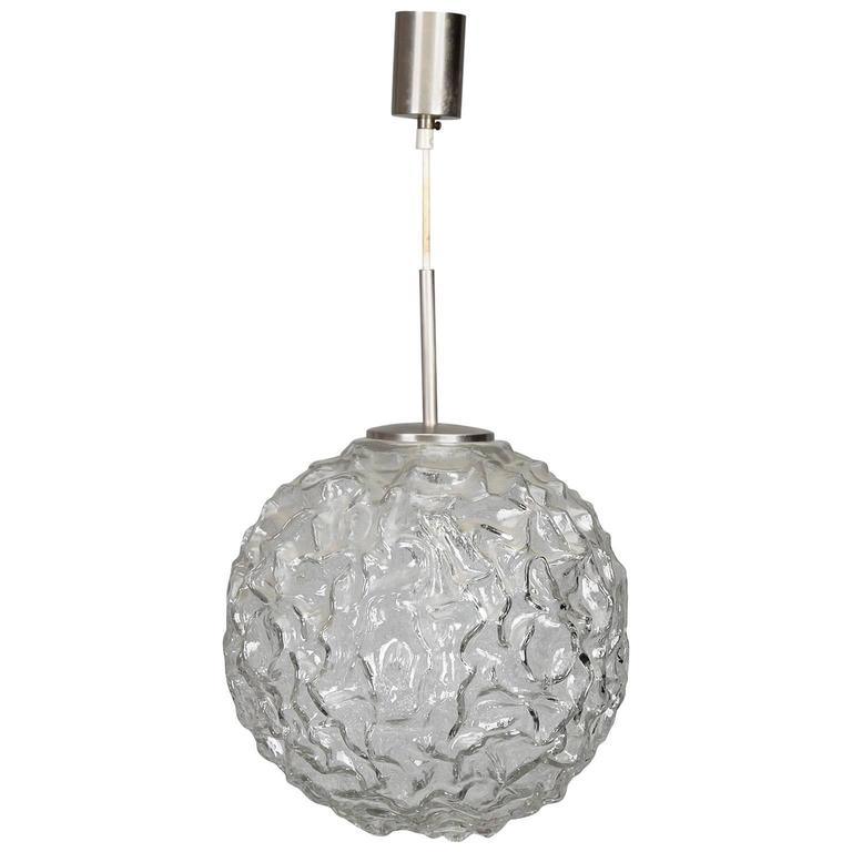 Mid-Century Molded and Textured Glass Globe Pendant