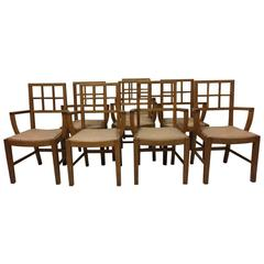 21 Lattice Back Oak Armchairs Attributed to Heals of London