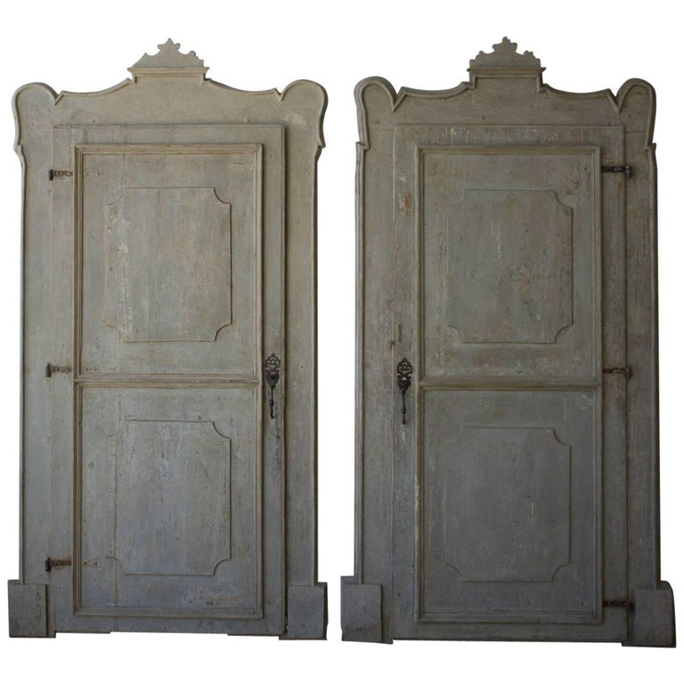 19th Century Italian Doors with Carved Frame For Sale
