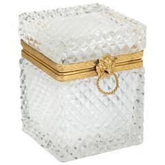 Cut Crystal Lidded Box With Brass Lion Head