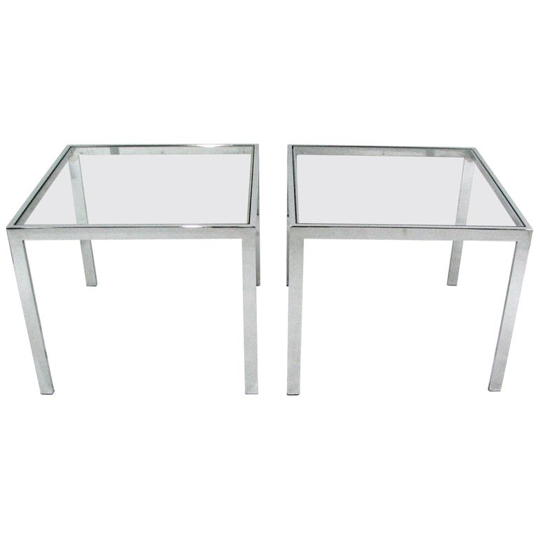 Pair of Chrome and Glass End Tables by Milo Baughman For Sale