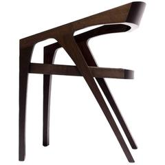 Thick Dining or Side Chair in Dark Walnut with Slung Saddle Leather Seat