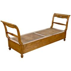 Antique French Provencal Cherry Daybed with Cane Seat